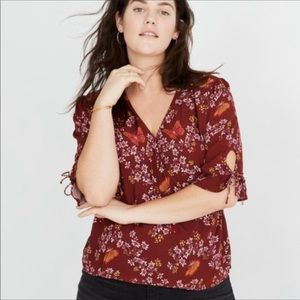 Madewell Tops - Madewell Tie Sleeve Wrap Top Butterfly Sanctuary